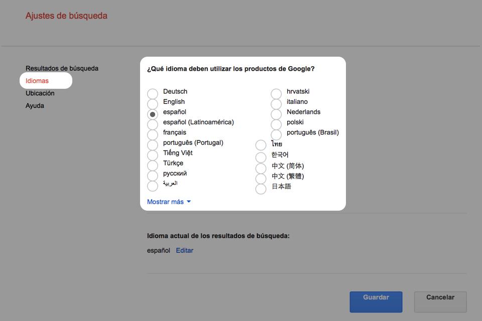 Escoger idioma de los usuarios