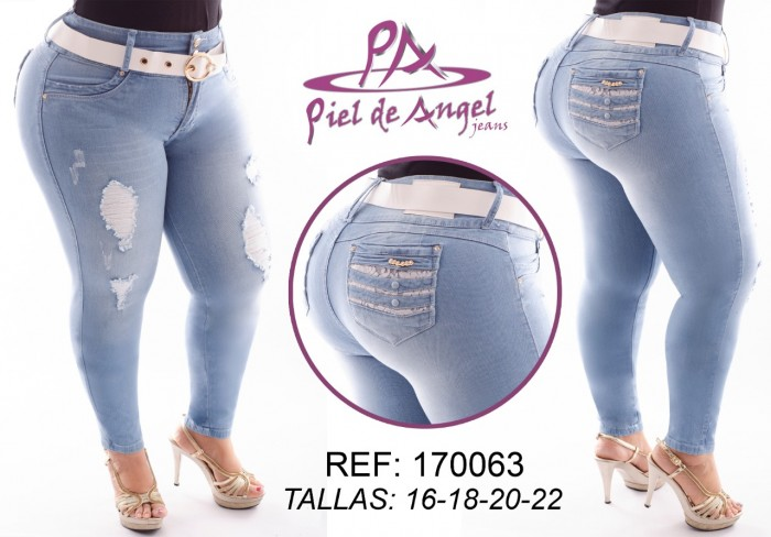 Jeans levanta cola talla plus pretina ancha