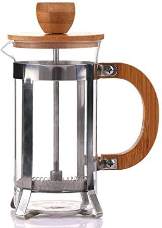 Cafetera de Pistón madera, vaso en vidrio 3 tazas 350 ml.