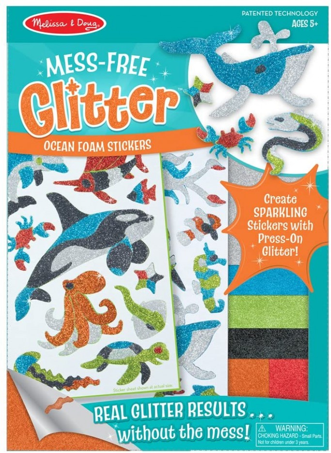 MESS FREE GLITTER- OCEAN FOAM STICKERS