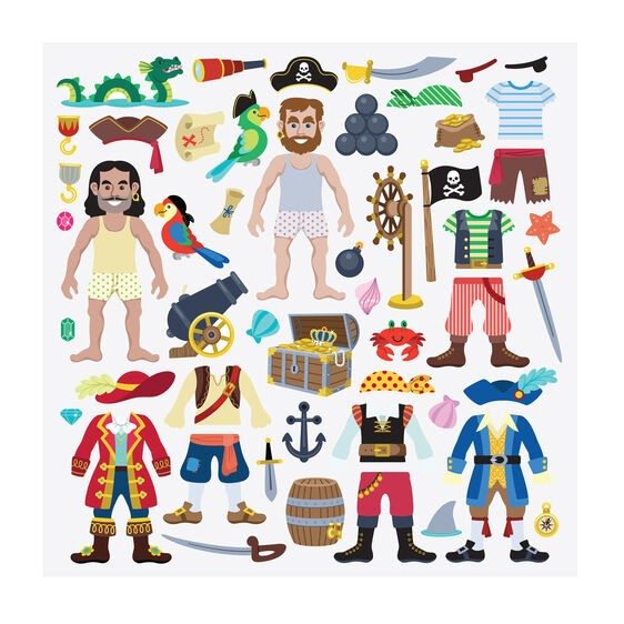 REUSABLE PUFFY STICKERS- PIRATE