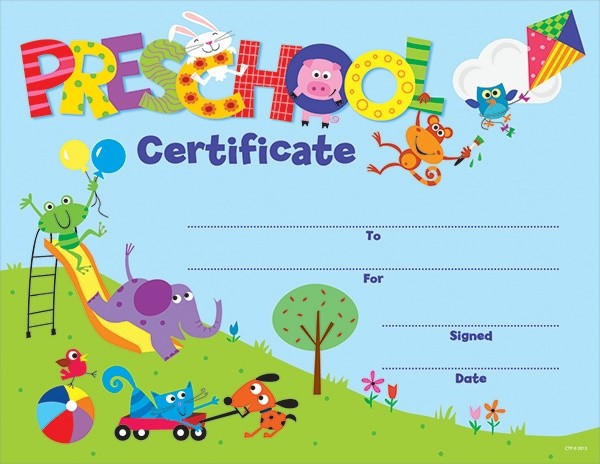 PRESCHOOL CERTIFICATE AWARDS