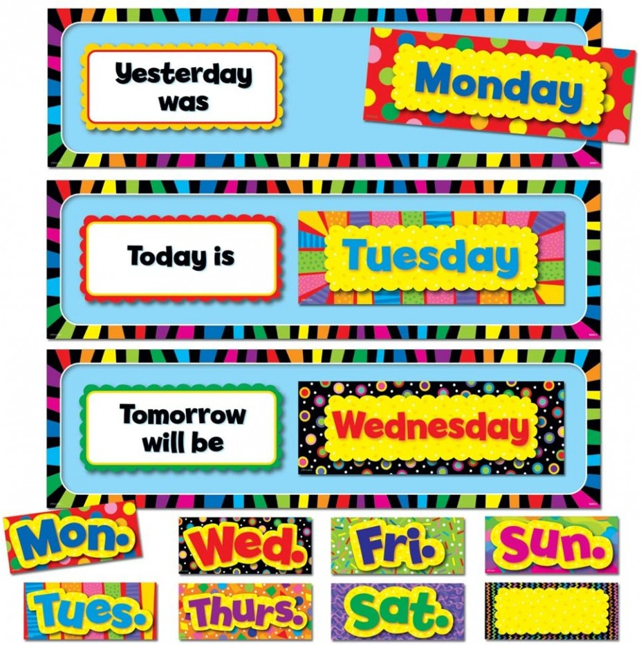 POPPIN' PATERNS DAYS OF THE WEEK, MINI BULLETIN BOARDS