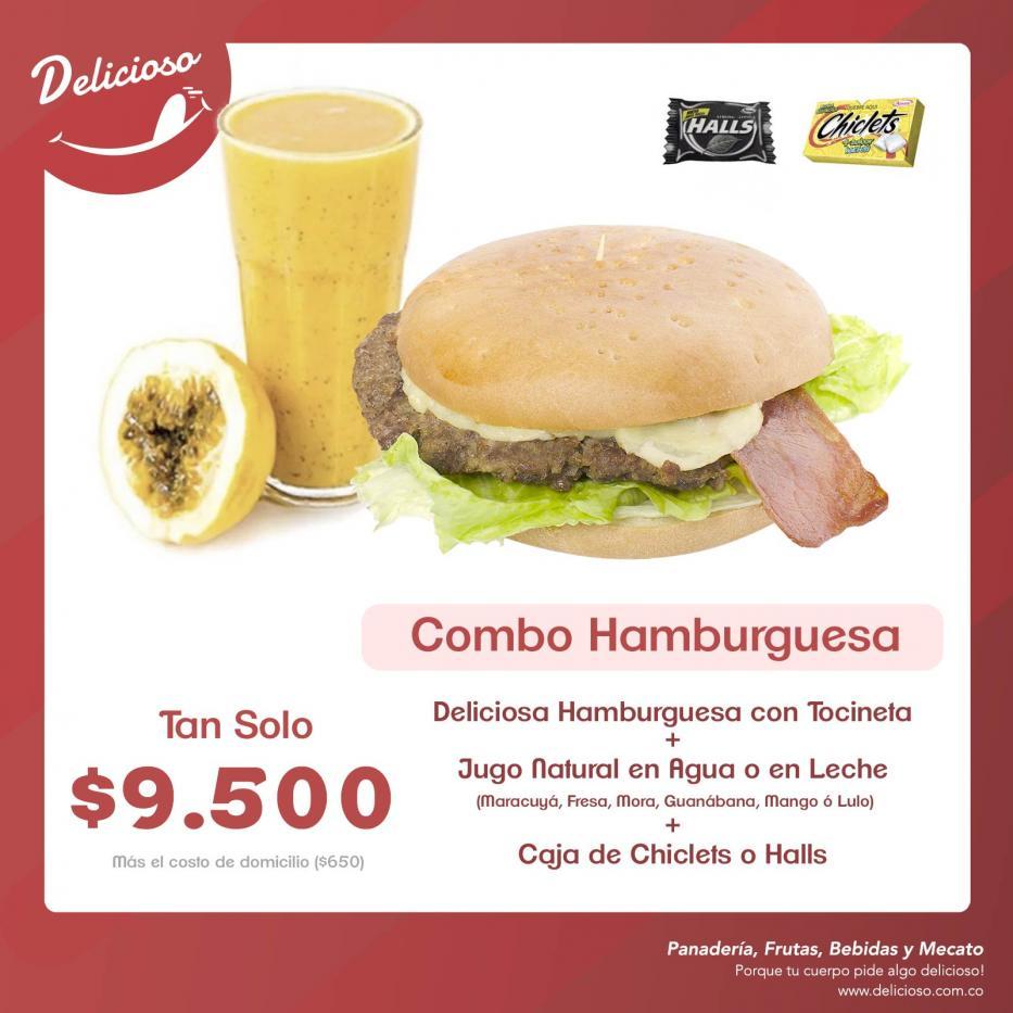 Combo Hamburguesa con Tocineta + Jugo Natural