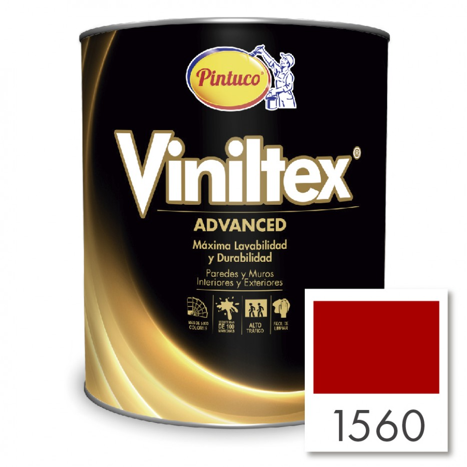 Pintura Viniltex Advanced Rojo vivo 1560