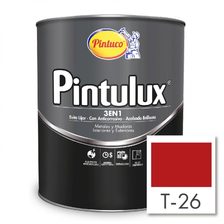 Esmalte Pintulux 3 en 1 brillante Bermellon T-26