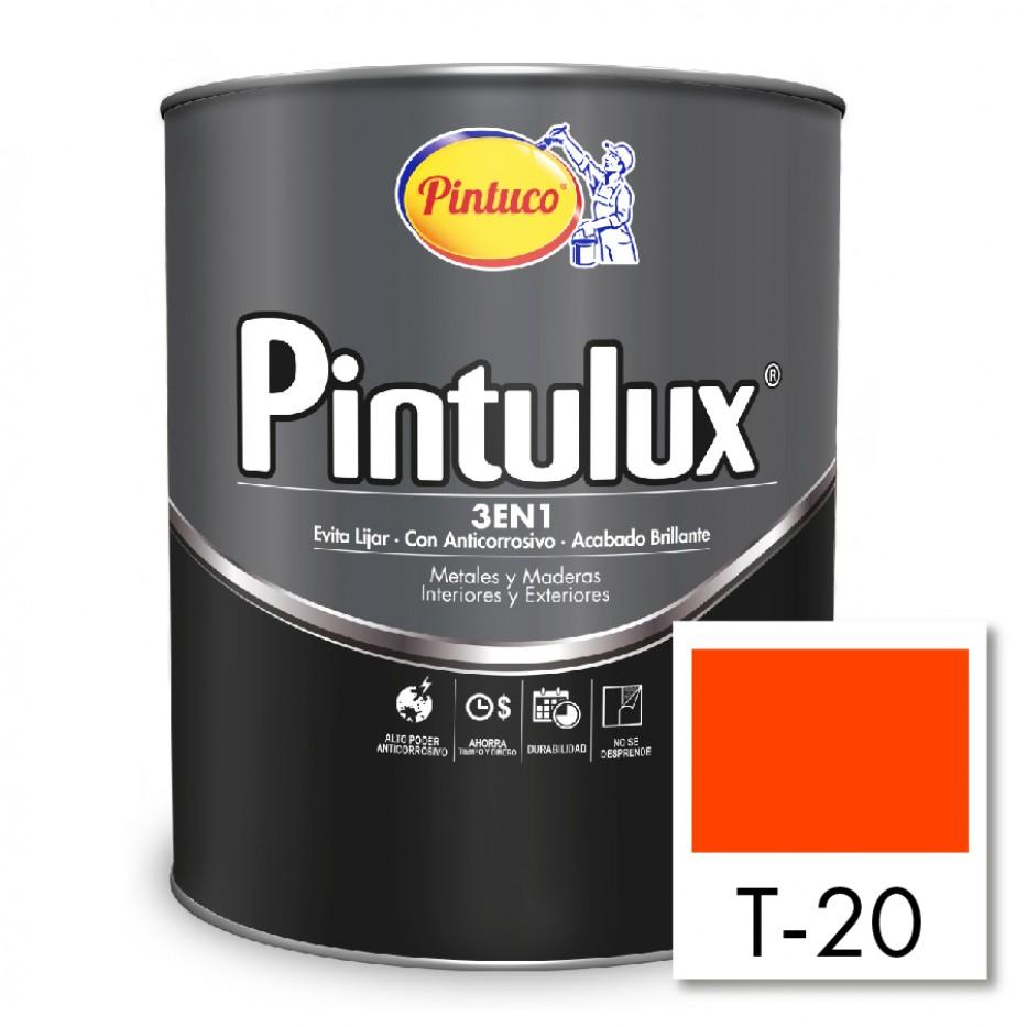 Esmalte Pintulux 3 en 1 brillante Naranja T-20