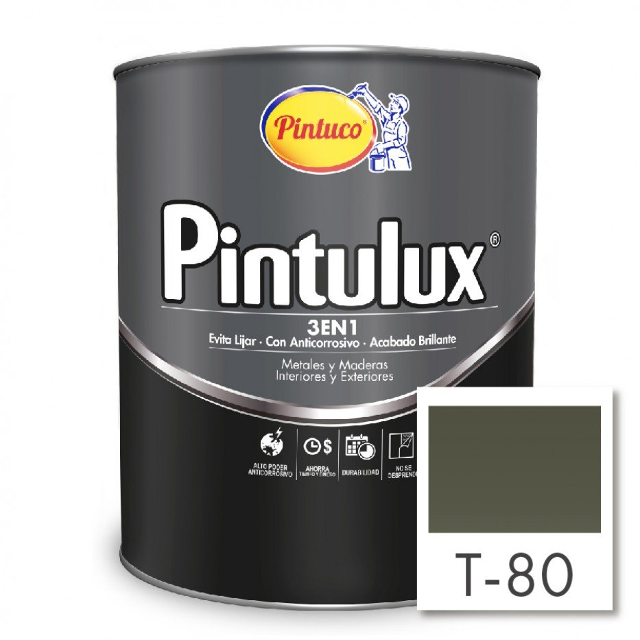 Esmalte Pintulux 3 en 1 Brillante Verde bronce T-80