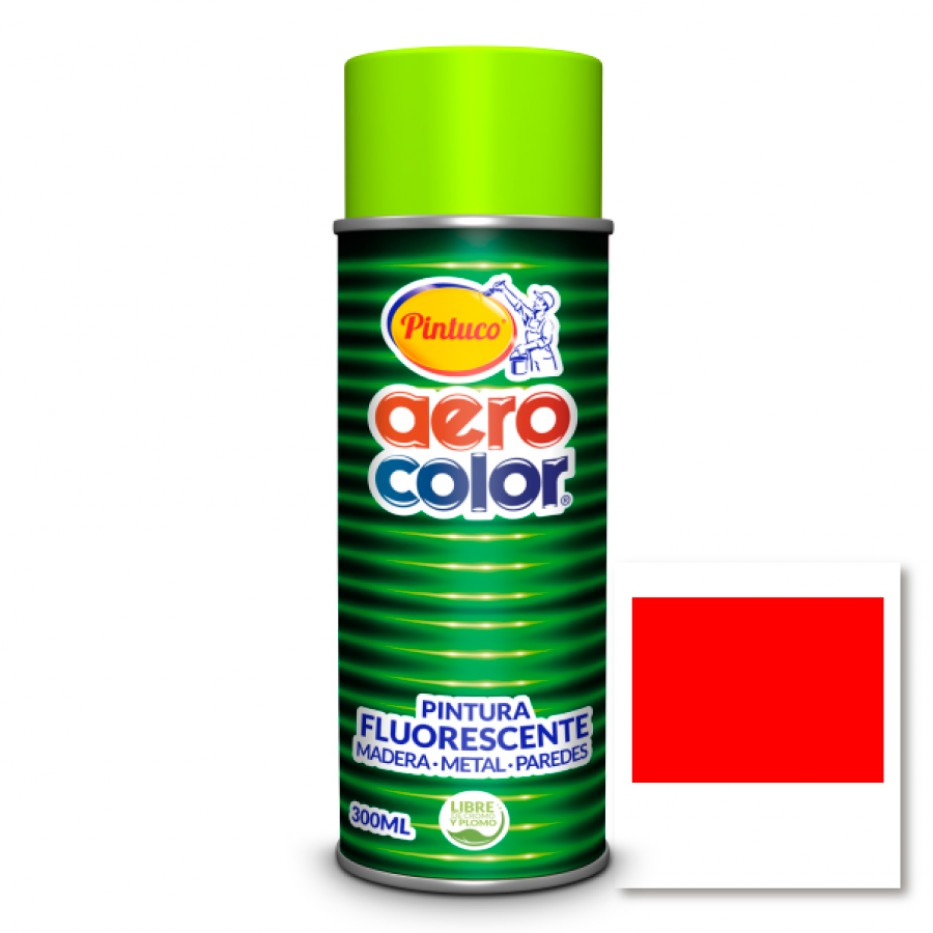 Aerocolor Laca Fluorescente Roja 300 ml