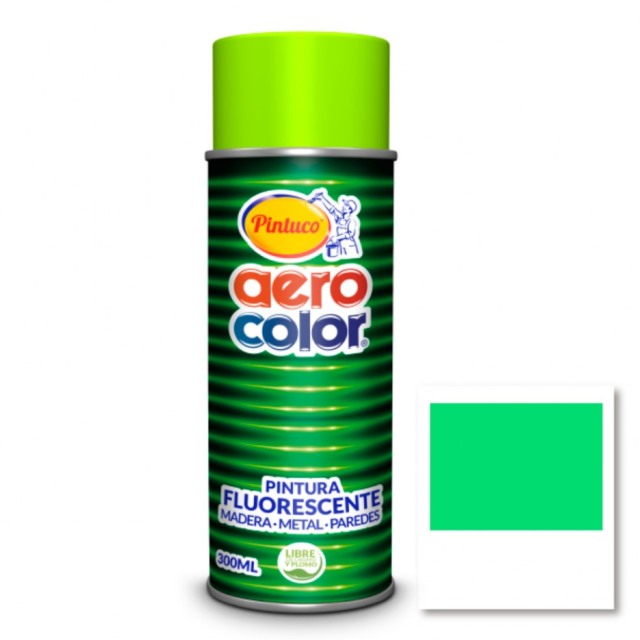 Aerocolor Laca Fluorescente Verde 300 ml