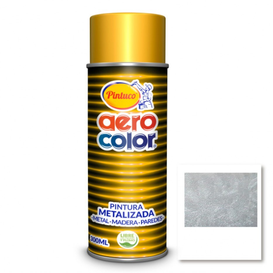 Aerocolor Laca Metalizada plata brillante 300 ml