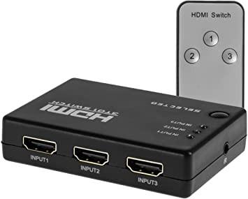 Switch HDMI 3 entradas 1 salida con conrol genérico
