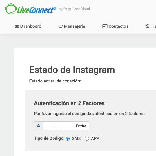 Autenticacion en dos pasos de instagram