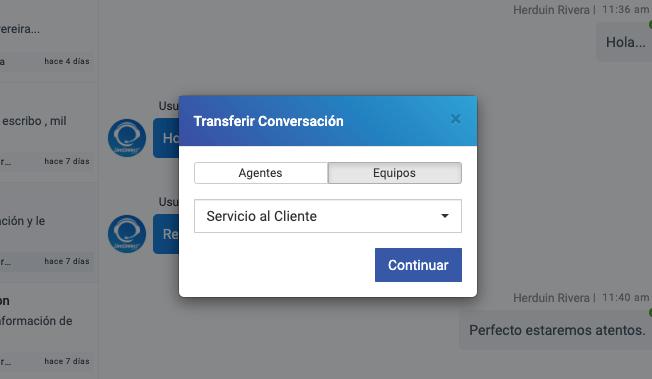 Transferencia de chats a equipos de agentes.