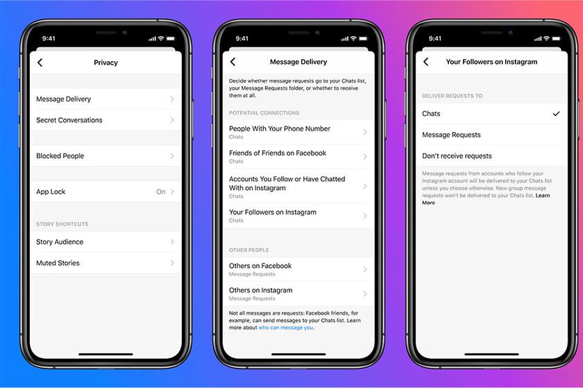 Messenger e Instagram añaden más opciones de privacidad para controlar quién te escribe