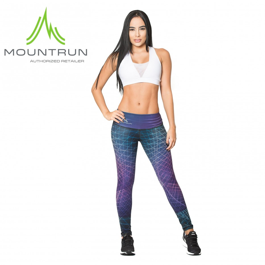 Mountrun Women's Workout Compression Pants (Geometric)