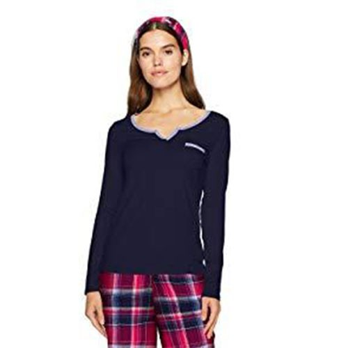 Nautica Flannel-Trimmed Pajama Top S