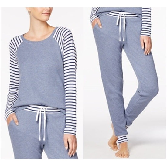 Alfani Striped-Trim Thermal Pajama Set XXXL