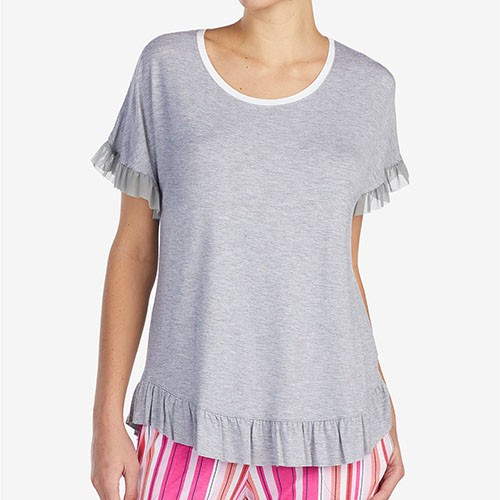 Layla Ruffled-Trim Pajama Top M