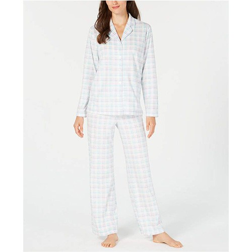 Charter Club Printed Fleece Pajama Set L