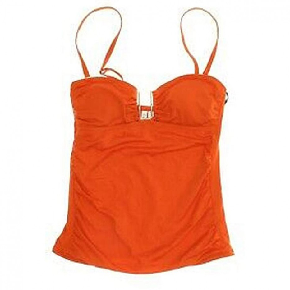 Calvin Klein Embellished Shirred Swim Top XS