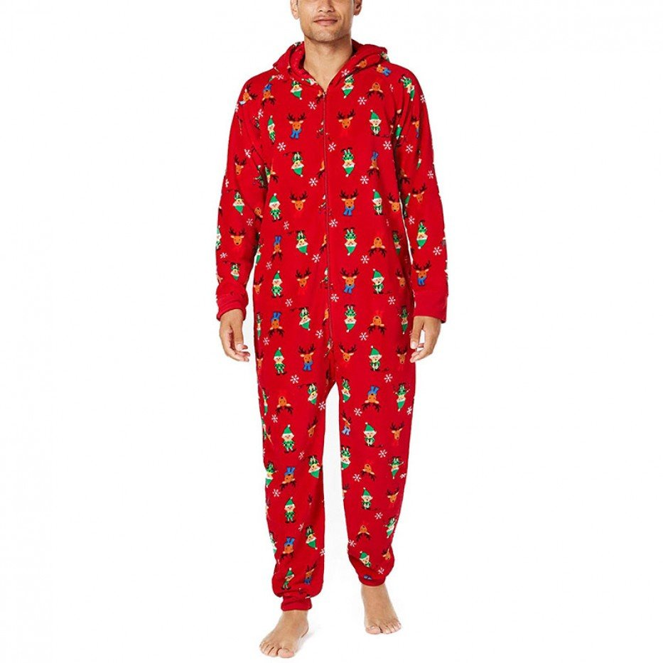 Family PJs Hooded One Piece Pajama M