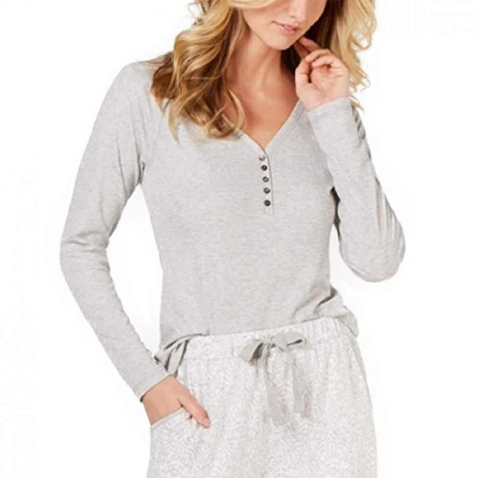 Charter Club Ribbed-Knit Henley Pajama Top XXL