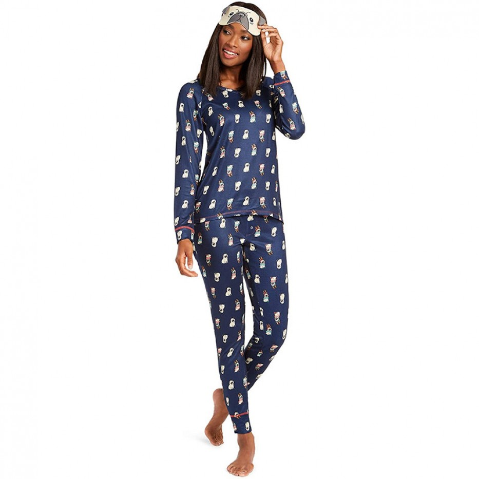 Jenni Knit Pajamas & Sleep Mask 3pc Set XXL