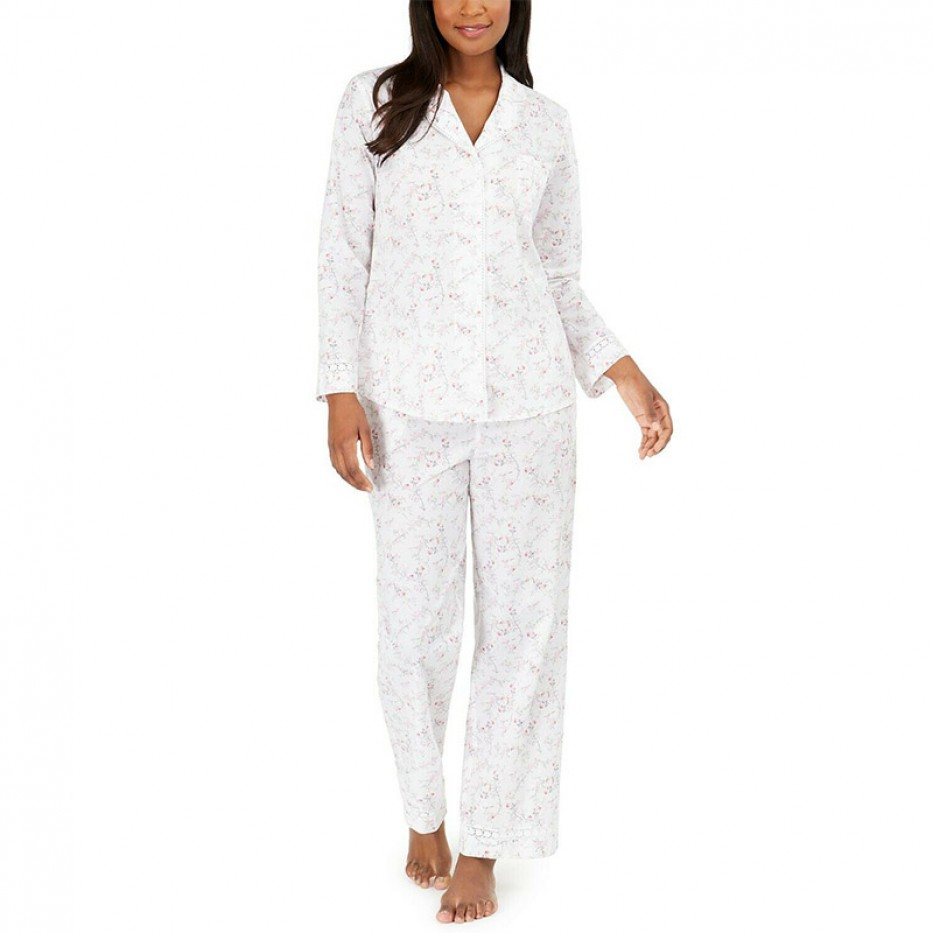 Miss Elaine Cotton Floral-Print Pajamas Set S
