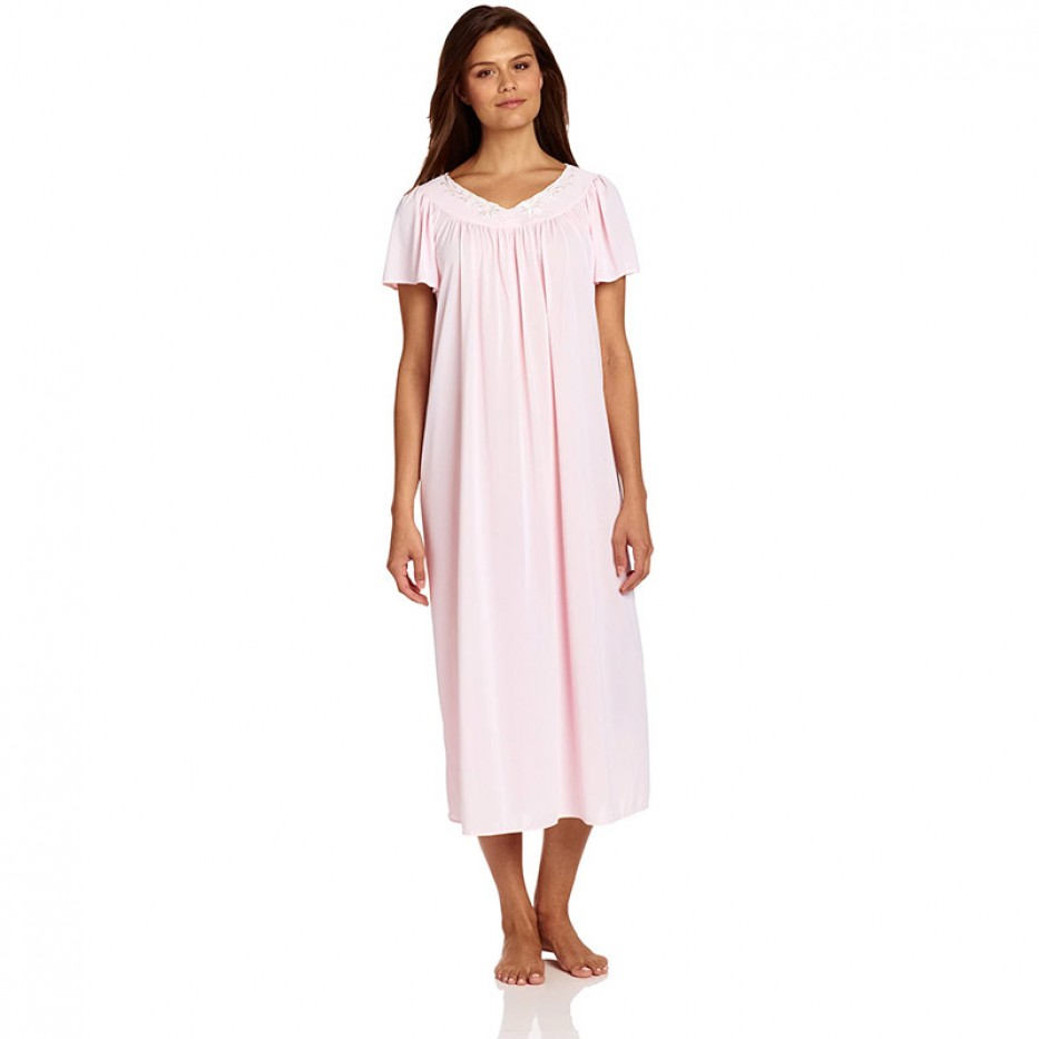 Miss Elaine Tricot Long Flutter-Sleeve Nightgown XL