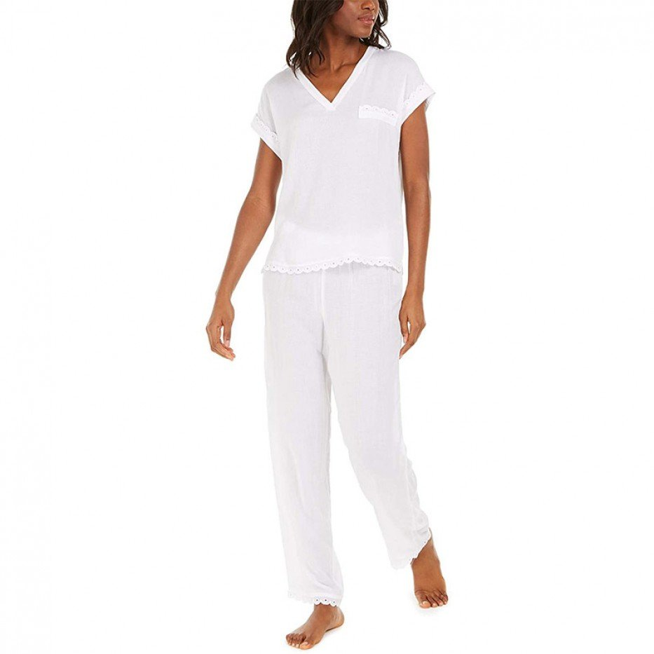 Charter Club Scalloped Eyelet Pajama Set S