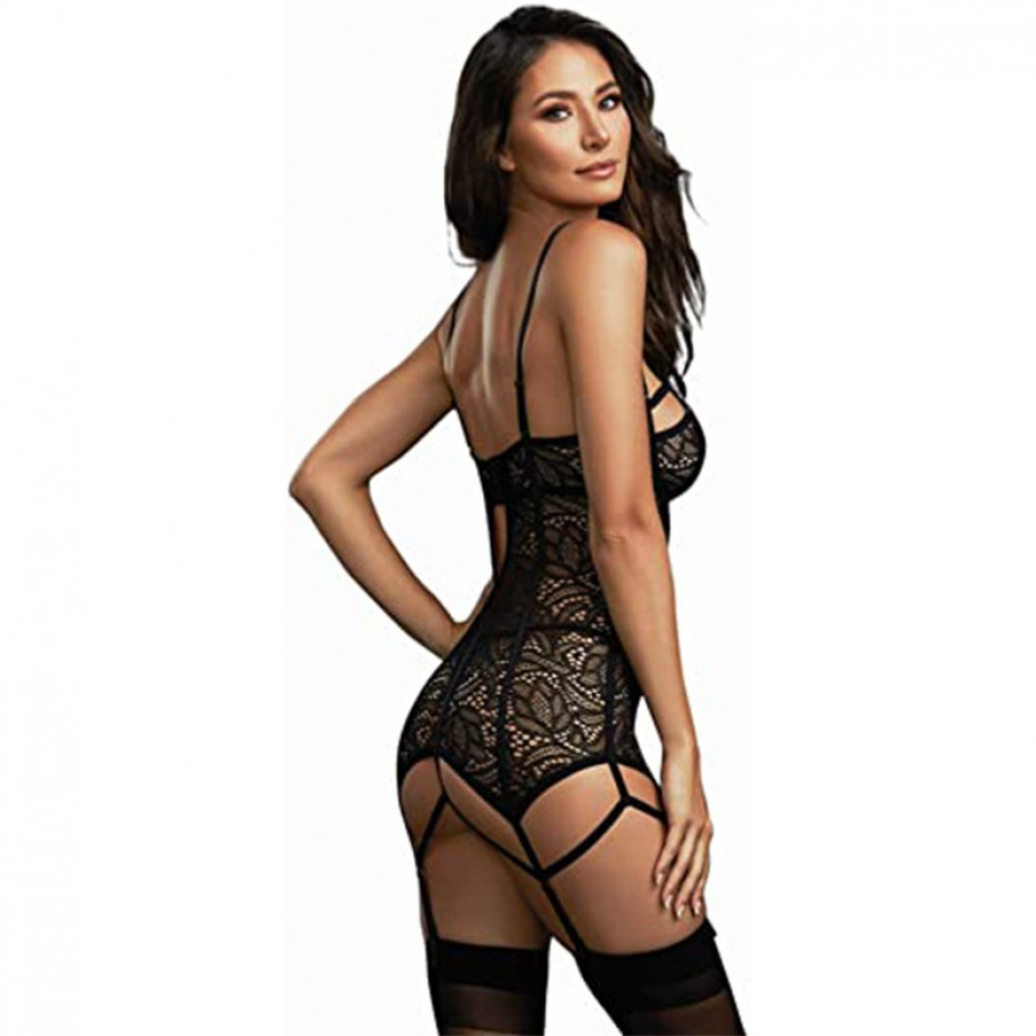 Dreamgirl Lace Garter Slip and Thong Set XS
