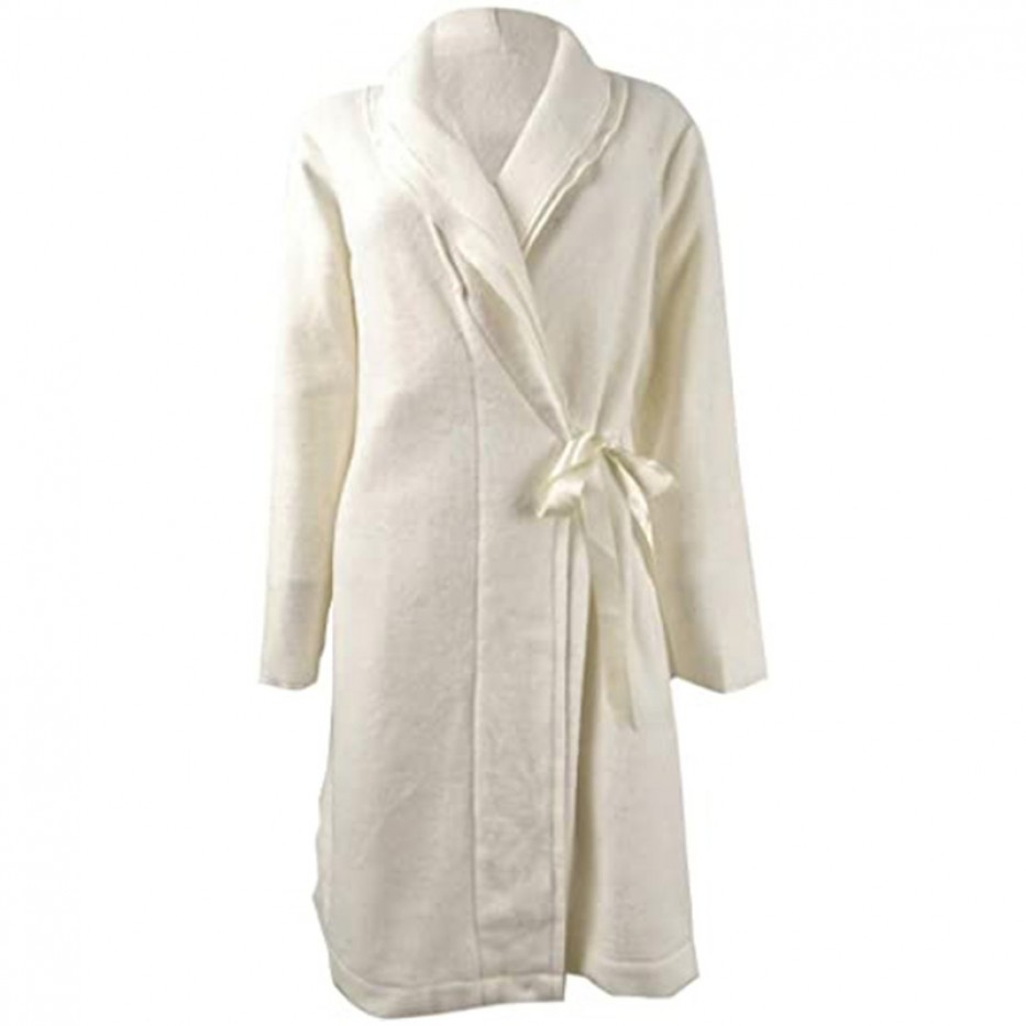 Charter Club Layered-Collar Fleece Short Robe M