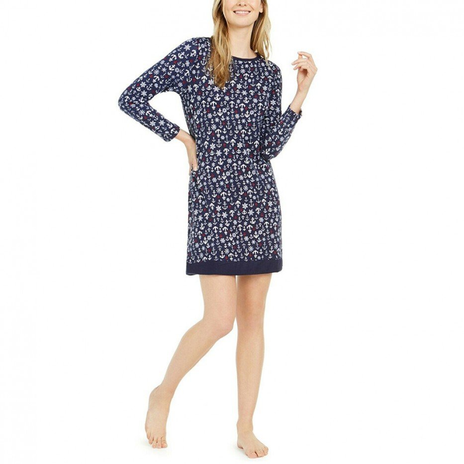 Nautica Long Sleeve Sleepshirt Nightgown S