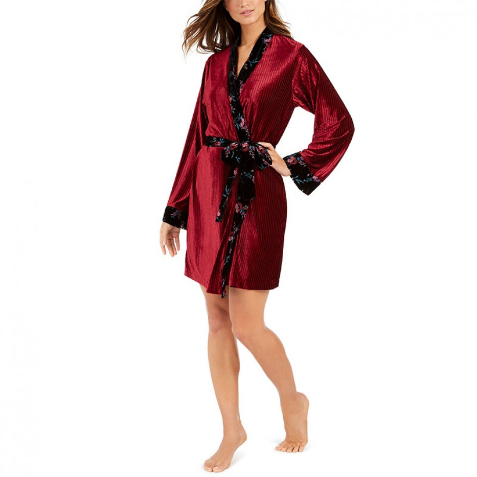 INC Floral Ribbed Robe XS