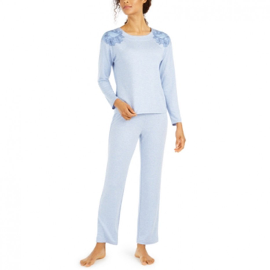 Charter Club Floral Embroidered Pajama Set L