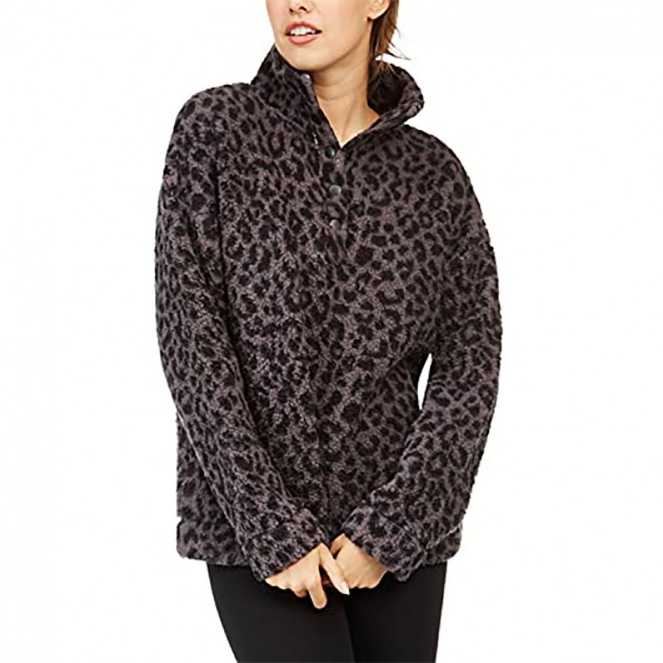 Jenni Intimates Faux Sherpa Cozy Pullover Lounge Top M