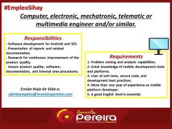 COMPUTER, ELECTRONIC, MECHATRONIC, TELEMATIC OR MULTIMEDIA ENGINEER AND/OR SIMILAR